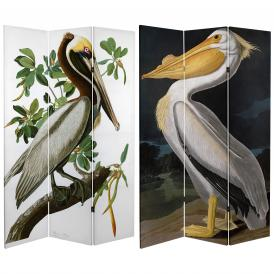 6 ft. Tall Double Sided Audubon Pelican Canvas Room Divider
