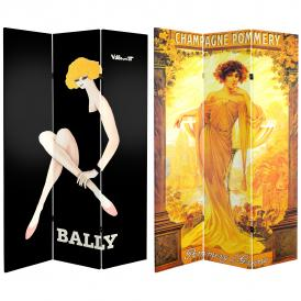 6 ft. Tall Double Sided Vintage Women Canvas Room Divider