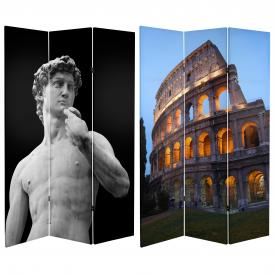 6 ft. Tall Double Sided Coliseum and David Canvas Room Divider