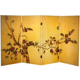 3 ft. Tall Double Sided Birds on Plum Tree Canvas Room Divider