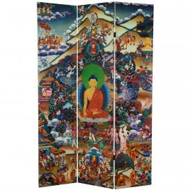 6 ft. Tall Footprints of Enlightenment Double Sided Canvas Room Divider