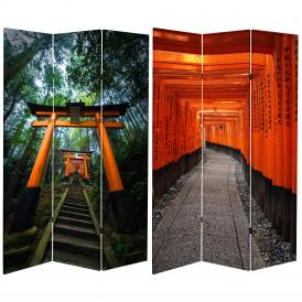 6 ft. Tall Double Sided Japanese Torii Gate Canvas Room Divider