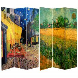 6 ft. Tall Double Sided Works of Van Gogh Canvas Room Divider - Cafe Terrace/View of Arles
