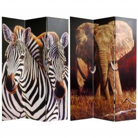 6 ft. Tall Elephant and Zebra Canvas Room Divider