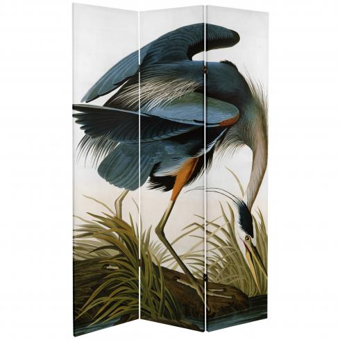 6 ft. Tall Double Sided Audubon Heron & Flamingo Canvas Room Divider
