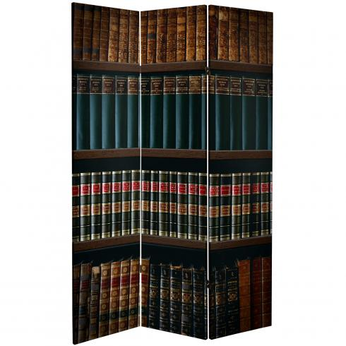 6 ft. Tall Double Sided Library Canvas Room Divider