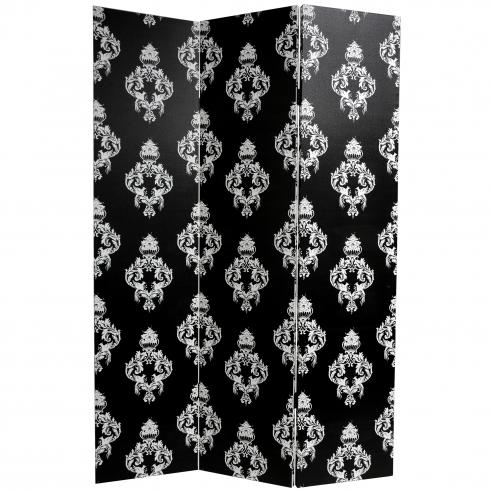 6 ft. Tall Double Sided Black and White Damask Canvas Room Divider