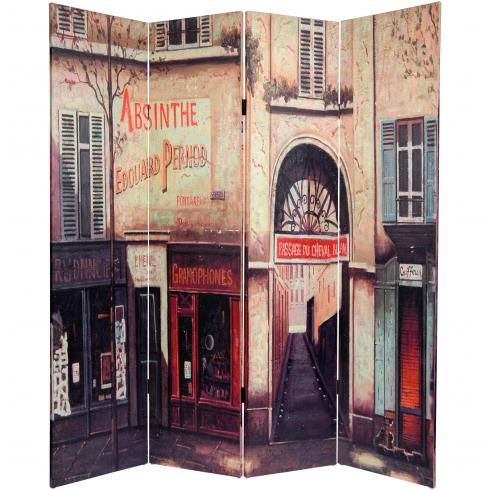 6 ft. Tall Double Sided French Cafe Canvas Room Divider