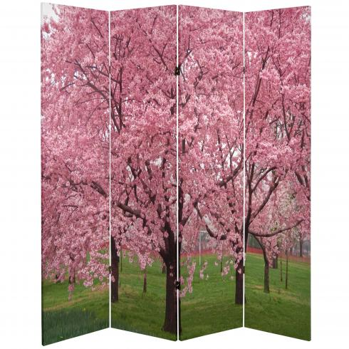 6 ft. Tall Double Sided Cherry Blossoms Room Divider