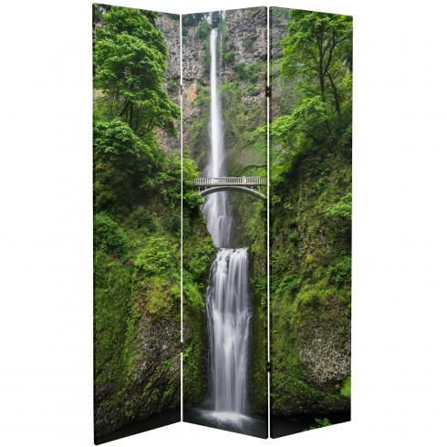 6 ft. Tall Double Sided Mountaintop Waterfall Canvas Room Divider