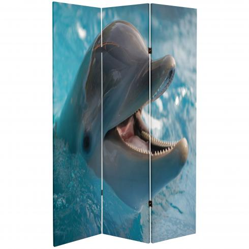 6 ft. Tall Double Sided Dolphin and Clownfish Room Divider