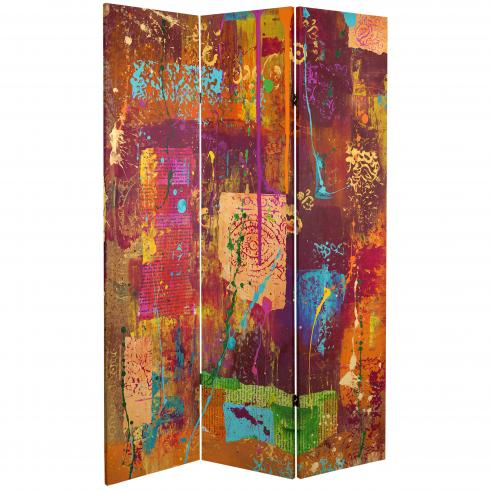 6 ft. Tall India Double Sided Canvas Room Divider