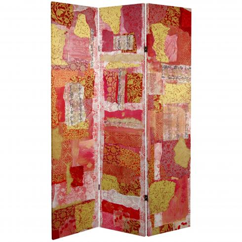 6 ft. Tall Avant-Garde Collage Canvas Room Divider