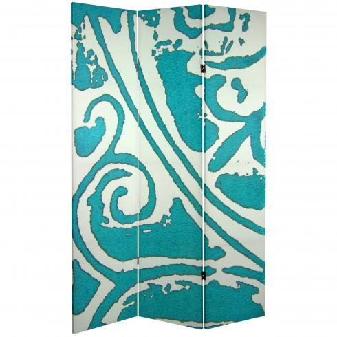 6 ft. Tall Double Sided Teal Vineyard Canvas Room Divider