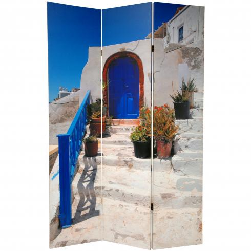 6 ft. Tall Double Sided Santorini Greece Room Divider