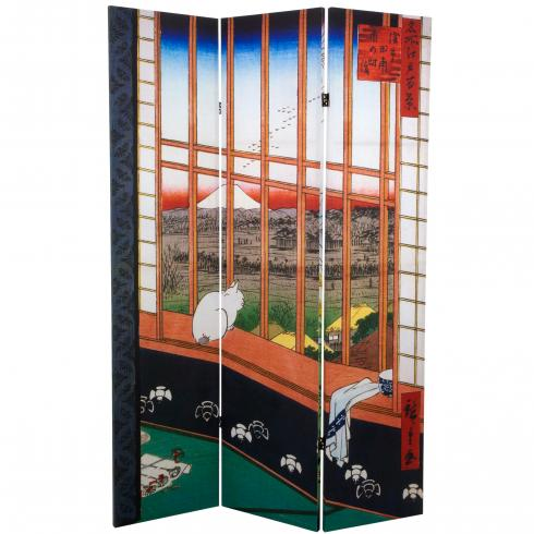 6 ft. Tall Double Sided Hiroshige Room Divider - Asakusa Rice Field/Otsuki Plain