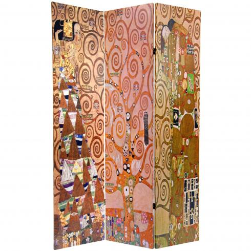 6 ft. Tall Double Sided Works of Klimt Room Divider - Stoclet Frieze