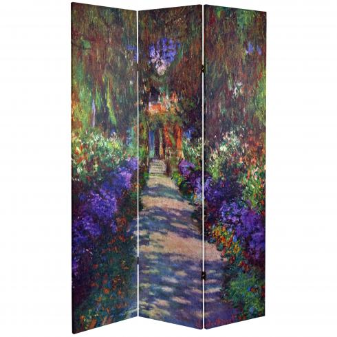 6 ft. Tall Double Sided Works of Monet Canvas Room Divider - Lilies/Garden at Giverny