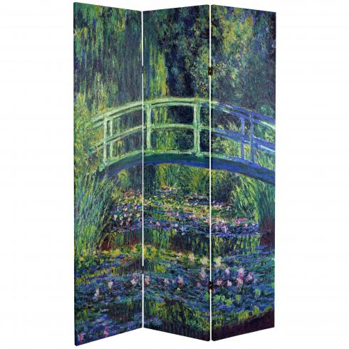 6 ft. Tall Double Sided Works of Monet Canvas Room Divider - Water Lily/Garden