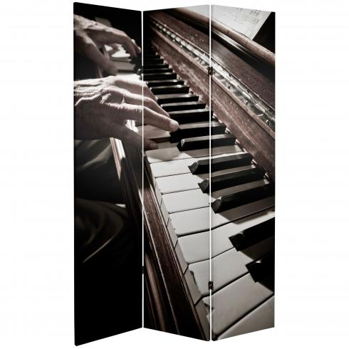 6 ft. Tall Double Sided Music Canvas Room Divider