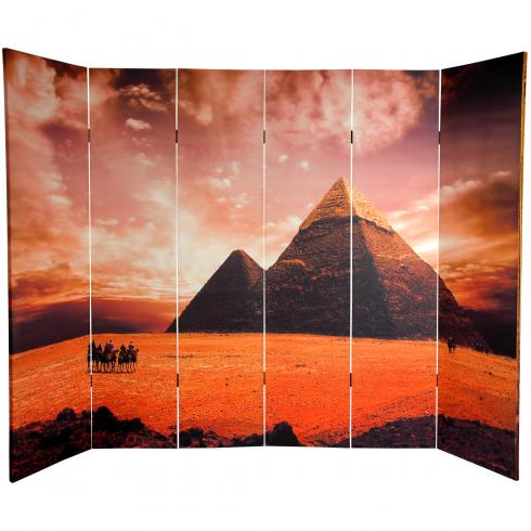 6 ft. Tall Double Sided Egyptian Pyramid Canvas Room Divider