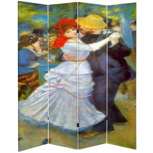6 ft. Tall Double Sided Works of Renoir Canvas Room Divider - Dance at Bougival/Two Girls