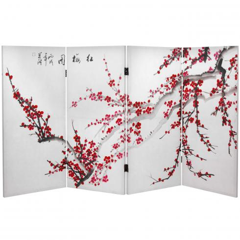 3 ft. Tall Double Sided Plum Blossom Canvas Room Divider