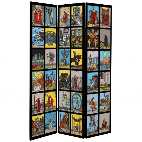 6 ft. Tall Double Sided Rider-Waite Tarot Canvas Room Divider