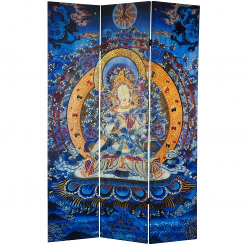 6 ft. Tall Radiant Tara Tibetan Double Sided Canvas Room Divider