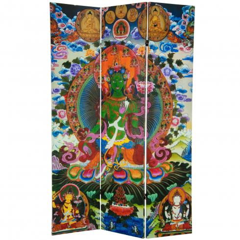 6 ft. Tall Green Tara Tibetan Double Sided Canvas Room Divider