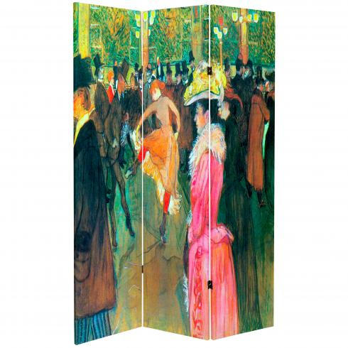 6 ft. Tall Double Sided Works of Toulouse-Lautrec Canvas Room Divider - Sleeping/Ball in the Moulin