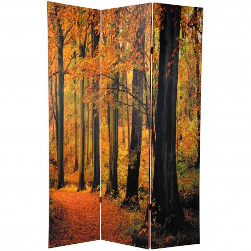 6 ft. Tall Double Sided Autumn Trees Room Divider