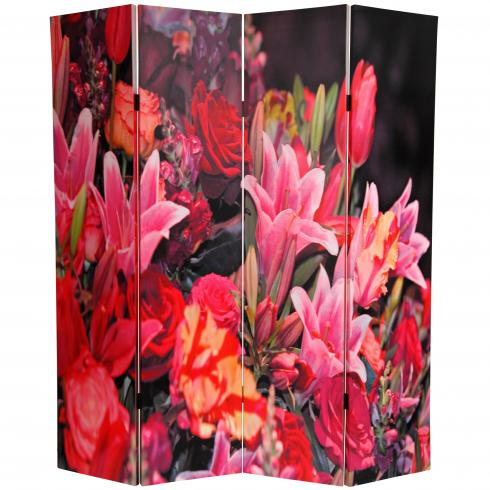 6 ft. Tall Double Sided Spring Flowers Canvas Room Divider