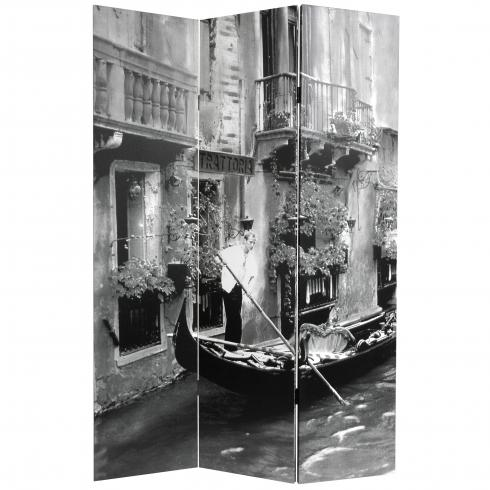 6 ft. Tall Double Sided Scenes of Venice Canvas Room Divider