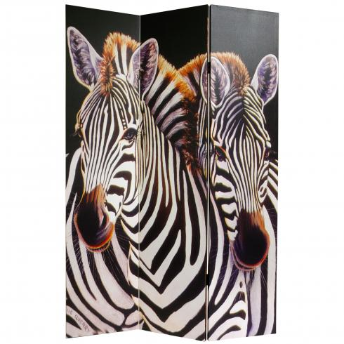 6 ft. Tall Double Sided Elephant and Zebra Canvas Room Divider