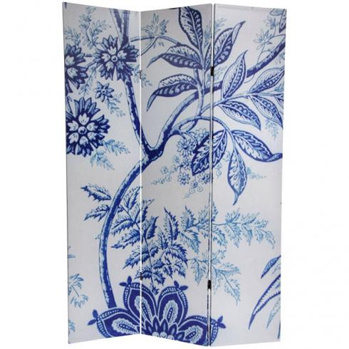 6 ft. Tall Blue Toile Double Sided Room Divider