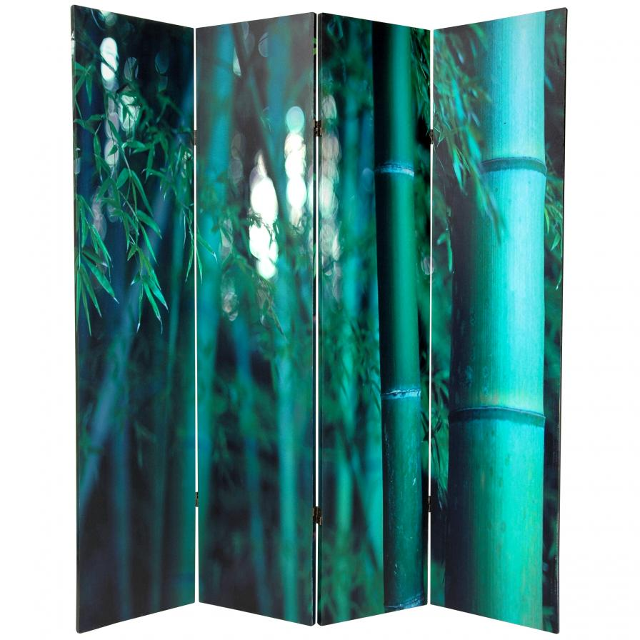6 ft. Tall Double Sided Bamboo Tree Canvas Room Divider 4 Panel