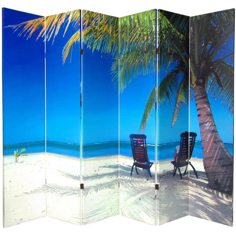 6 ft. Tall Beach Room Divider 6 Panel