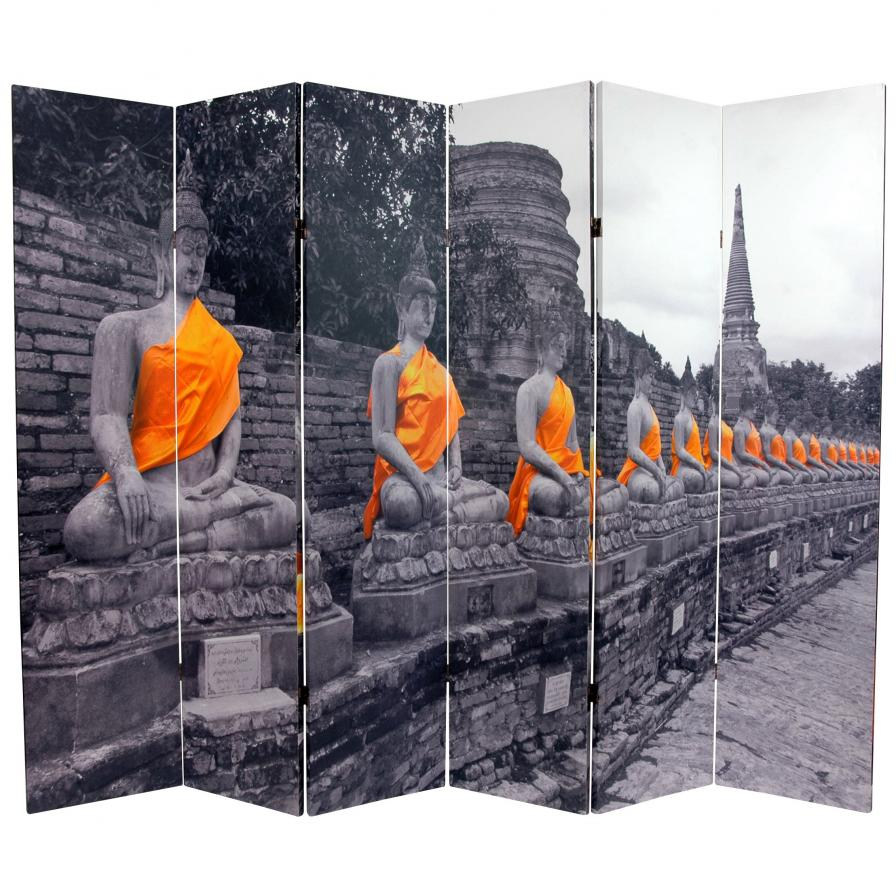 6 ft. Tall Double Sided Golden Buddhas Room Divider