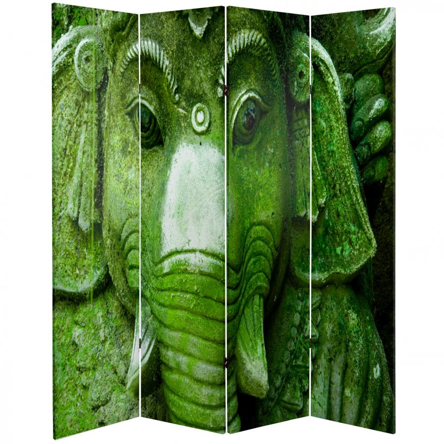 6 ft. Tall Double Sided Buddha and Ganesh Canvas Room Divider