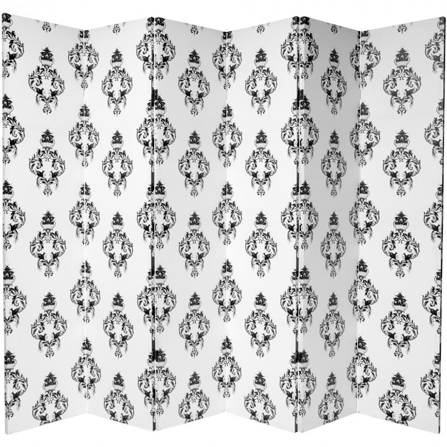 6 ft. Tall Double Sided Black and White Damask Canvas Room Divider 6 Panel