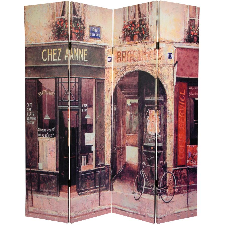 6 ft. Tall French Cafe Canvas Room Divider