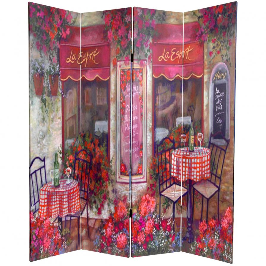 6 ft. Tall Double Sided Parisian Cafe Canvas Room Divider