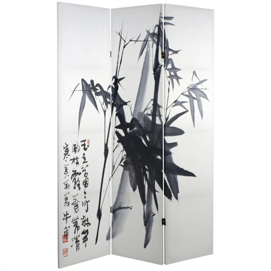 6 ft. Tall Double Sided Bamboo Calligraphy Canvas Room Divider