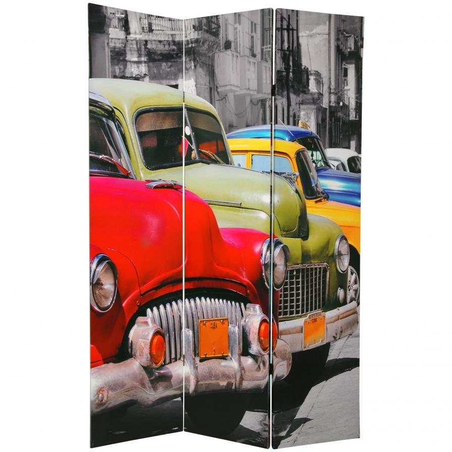 6 ft. Tall Double Sided Colorful Cars Room Divider