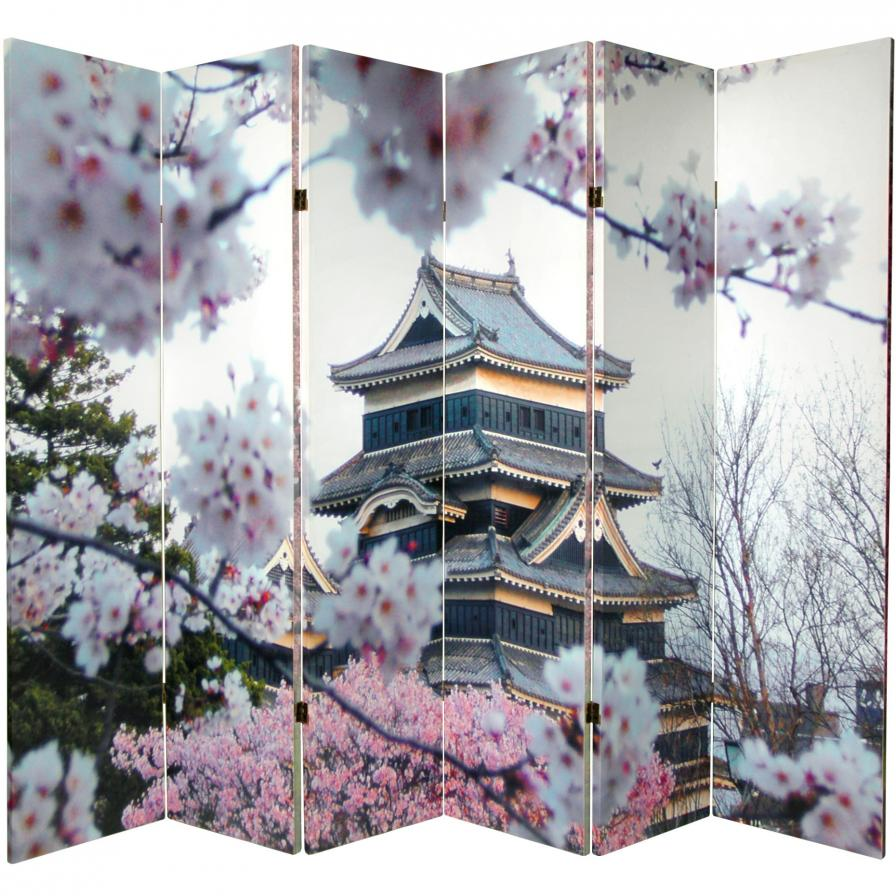 6 ft. Tall Double Sided Cherry Blossoms Canvas Room Divider 6 Panel