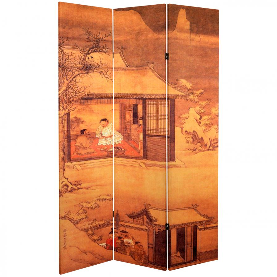 6 ft. Tall Double Sided Chinese Landscapes Canvas Room Divider