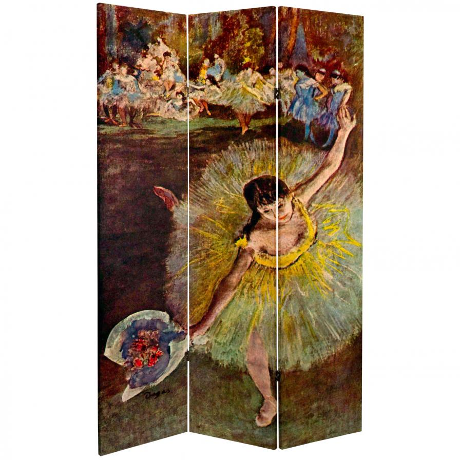 6 ft. Tall Double Sided Works of Degas Canvas Room Divider - Arabesque