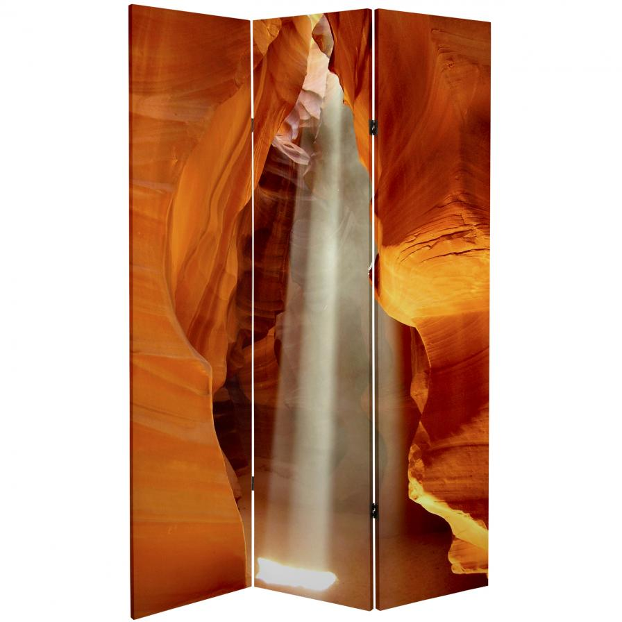 6 ft. Tall Double Sided Painted Desert Canvas Room Divider