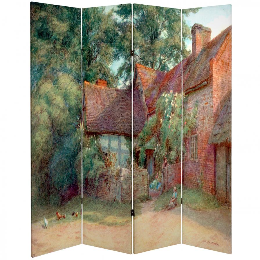 6 ft Tall Double Sided Farm Life Canvas Room Divider Screenscom
